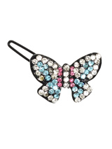 Butterfly Swarovski Hair Clip / Dog Barrette - Our Butterfly hair clip is one of the more pretty designs, works well with two butterfly's on each side of the head, It is incrusted with pink, blue and clear Swarovski crystals, a total of 60 crystals in all. Measures approx. 1.25'' - 3cm wide.
