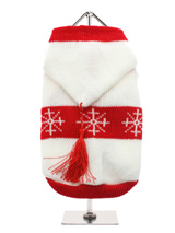 White Snowflake Sweater with Hood - We all know that a dog is not just for Christmas and neither is this fantastic Winter hoodie, ideal for wearing right now and will still look the part on Christmas day. Can there be anything more seasonal than this fantastic snowflake sweater with hood and red tassle, it's fun, it's warm, it's styli...
