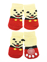 Red / Yellow 'Little Bear' Pet Socks - These fun and functional doggie socks protect your dogs paws from mud, <br />snow, ice, hot pavement, hot sand and other extreme weather. Made from <br />95% cotton and 5% spandex making them comfortable and secure. Each sock <br />features a paw shaped anti-slip silica pad and help keep your house...