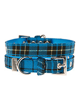 Blue Tartan Fabric Collar - Our Blue Checked Tartan collar is a traditional design which is stylish, classy and never goes out of fashion. It is lightweight and incredibly strong. The collar has been finished with chrome detailing including the eyelets and tip of the collar. A matching lead, harness and bandana are available t...