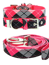 Pink Argyle Collar & Lead Set - Our Pink Argyle Collar and Lead Set is a traditional Scottish design which represents the Clan Campbell of Argyll in western Scotland. It is stylish, classy and never goes out of fashion. Used for kilts and plaids, and for the patterned socks worn by Scottish Highlanders since at least the 17th cent...