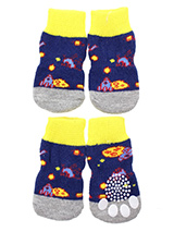Space Invaders Pet Socks - These fun and functional doggie socks protect your dogs paws from mud, snow, ice, hot pavement, hot sand and other extreme weather. Made from 95% cotton and 5% spandex making them comfortable and secure. Each sock features a paw shaped anti-slip silica pad and help keep your house sanitary. (set of...