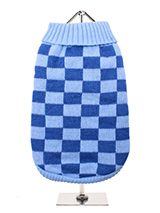 Checkerboard Blue Sweater - Inspired by the Mod Revival and Ska music movements of the 1970s, Urban Pup presents this fantastically bold checkerboard knitted jumper. In a dark/light blue all over check and contrast ribbed collar, cuff and Hem. Creates a sharp look and a elasticated hem ensures a great fit from front to back. O...
