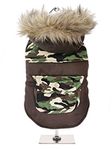 Two-Tone Camouflage Quilted Parka  - This is a military style two tone camouflage parka, this camouflage style is ideal for walks in the park for the more adventurous pet or even the pet that likes to blend into the background. The hood is trimmed with faux fur while the lining is a fleece lined to keep the heat in and the cold out, tr...