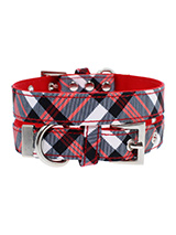Red & White Plaid Fabric Collar - Our Red and White Plaid Tartan Collar is a traditional design which is stylish, classy and never goes out of fashion.. It is lightweight and incredibly strong. The collar has been finished with chrome detailing including the eyelets and tip of the collar. A matching lead, harness and bandana are ava...