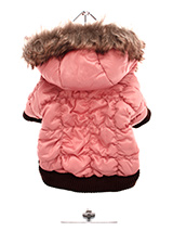 Luxury Pink Quilted Ski Parka - This gorgeous dusky pink quilted ski parka designed to hold the heat. <br />The arms and hem are elasticated to ensure the best possible fit. The <br />hood is finished with luxurious faux fur and the soft pink fleece lining <br />will keep your dog cosy and warm. The coat fastens along the undersid...