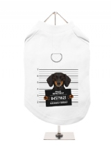 ''Police Mugshot - Dachshund'' Harness-Lined Dog T-Shirt