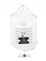 ''Police Mugshot - Poodle'' Harness-Lined Dog T-Shirt