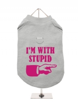 ''Im With Stupid'' Harness-Lined Dog T-Shirt